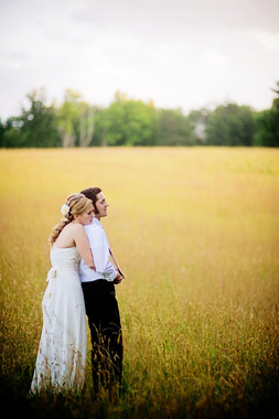 Bride & Groom in the pasture